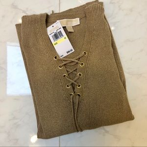 ✨NWT Michael Kors Gold Lace-up Sweater✨